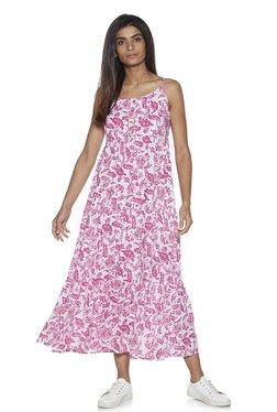 ebfc7dc6cbfd84 Zudio Pink Floral Tiered Maxi Dress