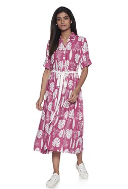 f0454ff0ae63 Zudio Pink Leaf Print Fit-And-Flare Shirtdress With Belt