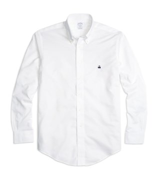 Brooks Brothers White Non-Iron Regent Fit Oxford Sport Shirt