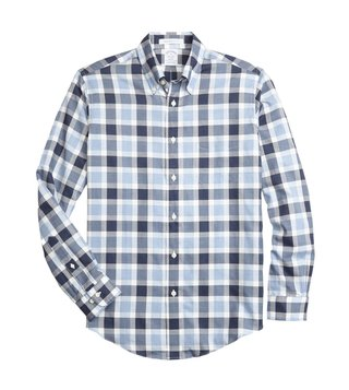 Brooks Brothers Regent Fit Blue Herringbone Sport Shirt