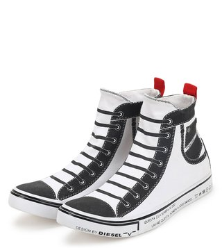 Diesel White Imaginee Mid Slip Sneakers