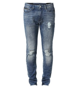 Armani Exchange Denim Indigo Distressed Tapered Fit Jeans