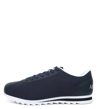 Armani Exchange Navy Logo Print Low Cut Sneakers