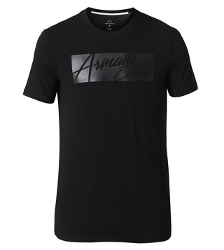 Armani Exchange Black Signature Crew Neck Slim Fit T-Shirt
