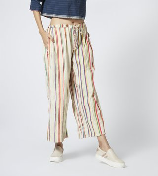 Pero White Striped Mid Rise Trousers