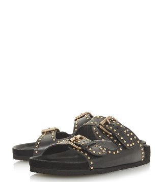 Dune London Black Lakes Stud Footbed Slides