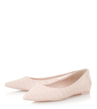 Dune London Blush Aeron Point Flat Flex Ballerinas