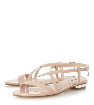 Dune London Nude Nenna Cross Strap Sandals