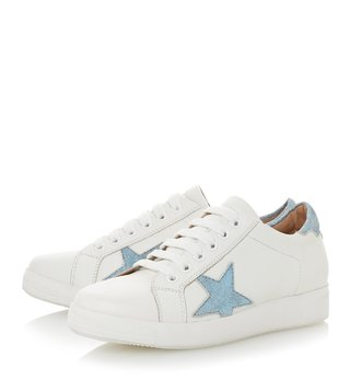 Dune London White Edris Star Lace Up Trainer Sneakers