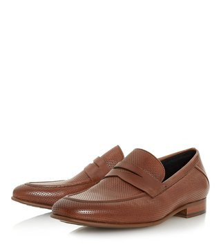 Dune London Tan Palazzo Round Toe Loafers