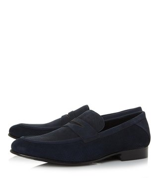 Dune London Navy Palazzo Round Toe Loafers