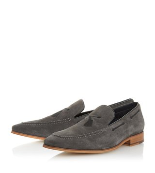 Dune London Grey Penry Embroidered Tassel Loafers