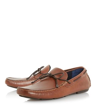 Dune London Tan Barnstable Plait Lace Driver Loafers