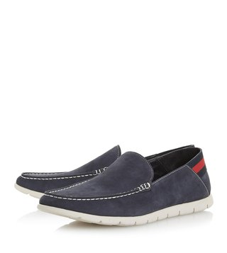 Dune London Navy Busquets Webbing Crush Back Loafers