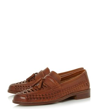 Dune London Tan Broadhaven Woven Tassel Loafers