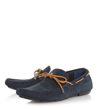 Dune London Navy Barnstable Plait Lace Driver Loafers
