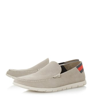 Dune London Grey Busquets Webbing Crush Back Loafers
