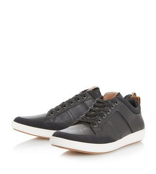 Dune London Black Tristan Pu Toe Bumper Trainer Sneakers