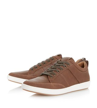 Dune London Brown Tristan Pu Toe Bumper Trainer Sneakers