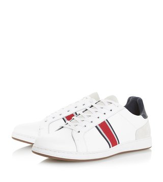 Dune London White Taggger Webbing Striped Trainer Sneakers