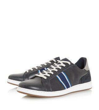 Dune London Navy Taggger Webbing Striped Trainer Sneakers