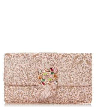 Dune London Peach Biijou Brocade Trim Clutch