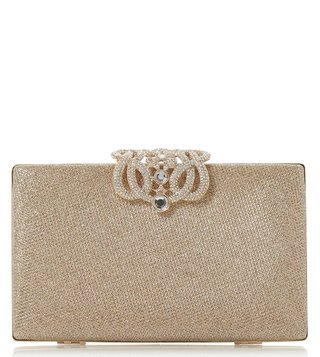 Dune London Gold Eterrnal Diamante Clasp Clutch