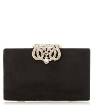 Dune London Black Eterrnal Diamante Clasp Clutch