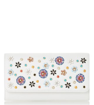 Dune London White Betula Candy Flower Enamel Clutch