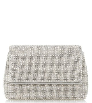 Dune London Silver Everlina Diamante Clutch