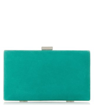 Dune London Green Brocco Slim Hard Case Frame Clutch