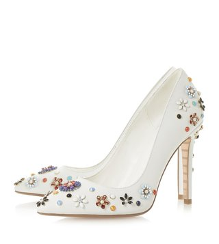 Dune London White Booquet Flower Embellished Pumps