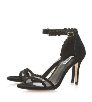 Dune London Black Maam Mesh Scallop Sandals