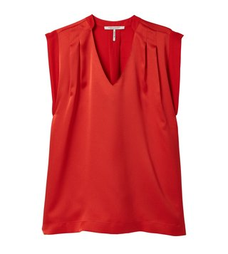 Scotch & Soda Poppy Red Silky Pleated Top