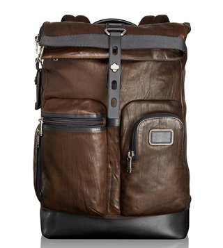 Tumi Dark Brown Luke Roll-Top Backpack