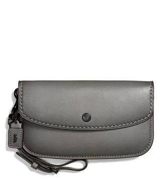 Coach Heather Grey & Black Copper Smooth Clutch