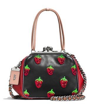 Coach Black Strawberry Embroidered Medium Cross Body Bag