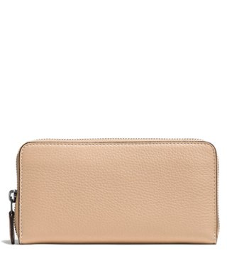 Coach Beige Accordion Zipper Glovetanned Leather Wallet