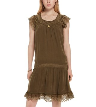 Scotch & Soda Military Green With Broderie Dress