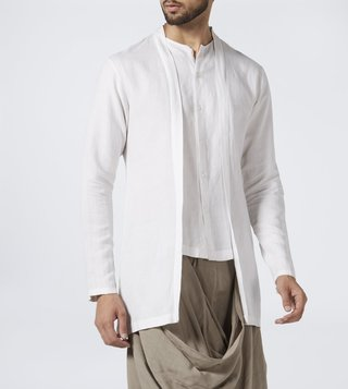 Antar Agni White Double Layered Shirt