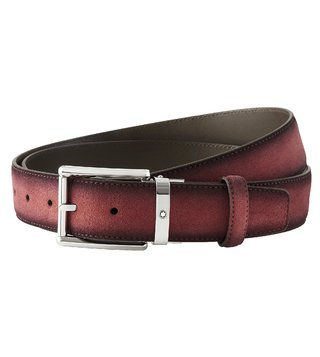 Montblanc Burgundy Cut-To-Size Casual Belt