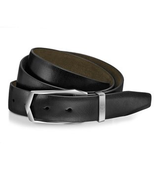 Lapis Bard Black Avant Garde Brushed Steel Leather Belt