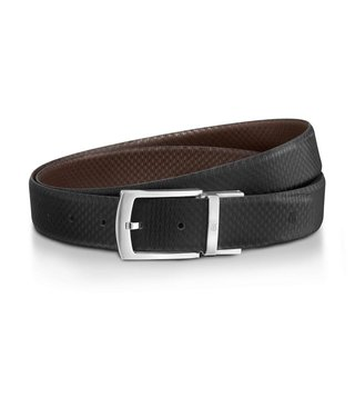 Lapis Bard Black & Brown Canary Wharf Reversible Leather Belt