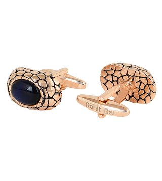 Rohit Bal Gold Tone Big Stone Crackle Cufflinks