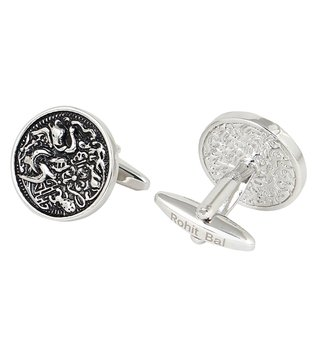 Rohit Bal Silver Tone Antique Abstract Cufflinks