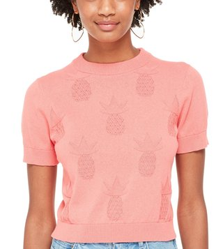 Kate Spade Apricot Sorbet Pineapple Textured Sweater