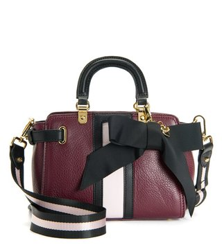 Juicy Couture Deep Burgundy & Pitch Trousdale Mini Leather Satchel