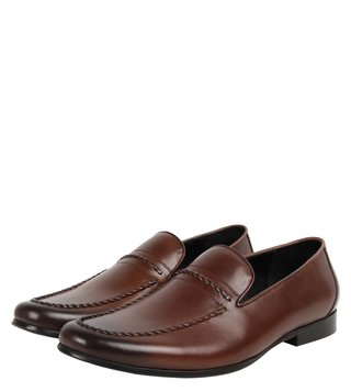 Dune London Brown Plait Di Loafers