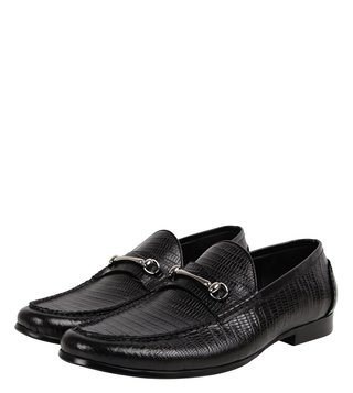 Dune London Black Plizard Di Loafers