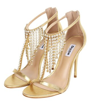 Dune London Gold Manaus Di T-Strap Sandals
